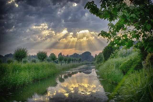 rayons de soleil sur l'eau